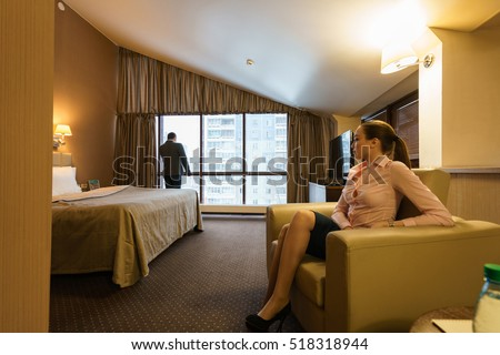 Business partners wait for meeting in hotel room #518318944