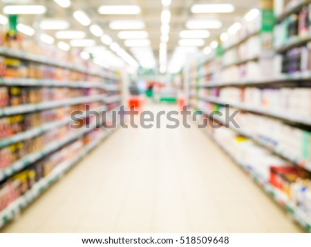 Abstract blurred supermarket aisle with colorful shelves and unrecognizable customers as background Royalty-Free Stock Photo #518509648