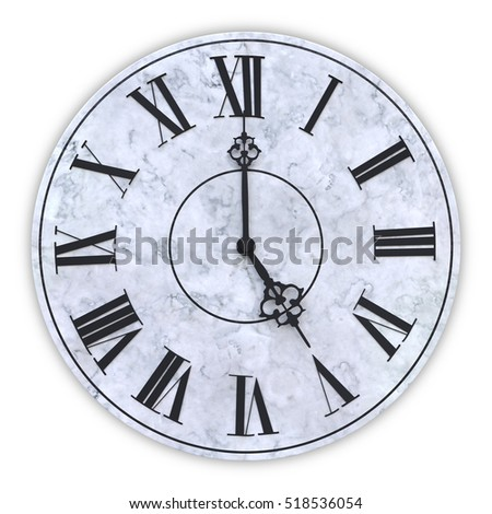 3d rendering of face of clock showing five hours. #518536054