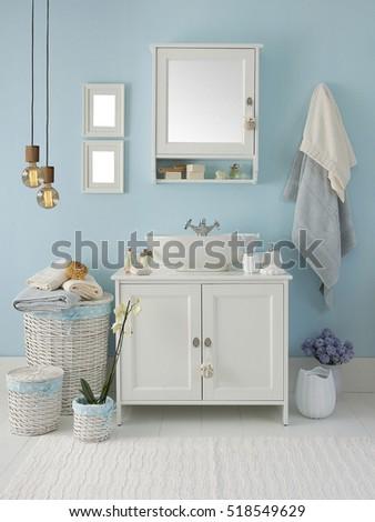 modern blue wall clear bathroom style, modern lamp #518549629