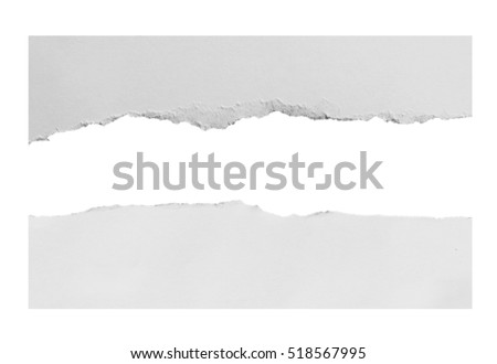 torn paper on white background with clipping path. Royalty-Free Stock Photo #518567995