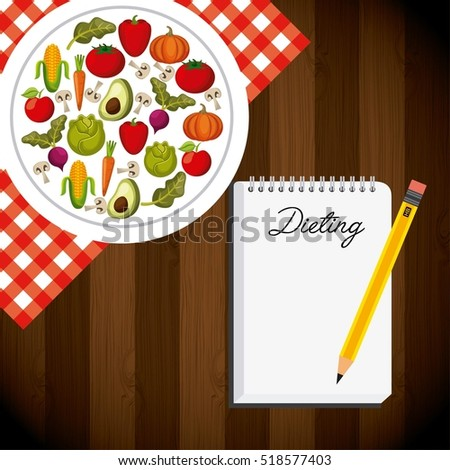 plate with vegetables and fruits and pencil and notepad with dieting word over wooden background. vector illustration  #518577403