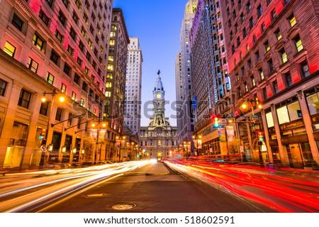 Philadelphia, Pennsylvania, USA downtown at city hall during evening rush hour. #518602591