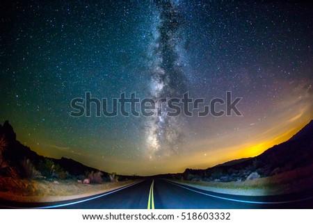 Road Leading Towards Milky Way Galaxy