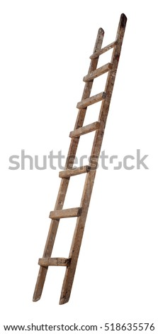 Old wooden ladder on the white background #518635576