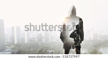 She is fighting for success . Mixed media Royalty-Free Stock Photo #518727997