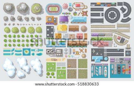 Set of landscape elements. Nature, city, village, transportation. (Top view) Mountains, hills, fields, trees, houses, buildings, attractions, railroad, road, port, airport. (View from above) Royalty-Free Stock Photo #518830633