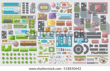 Set of landscape elements. City. (Top view) Trees, houses, buildings, skyscrapers, attractions, railroad, road, port, airport. (View from above) Royalty-Free Stock Photo #518830642