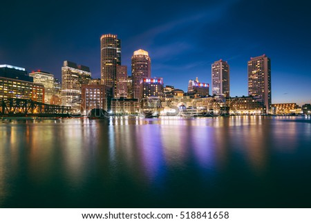 The Boston skyline at night, seen from Fort Point in South Boston, Massachusetts.