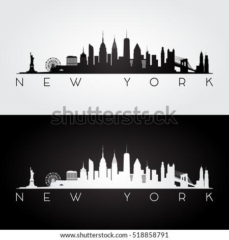 New York USA skyline and landmarks silhouette, black and white design, vector illustration. Royalty-Free Stock Photo #518858791