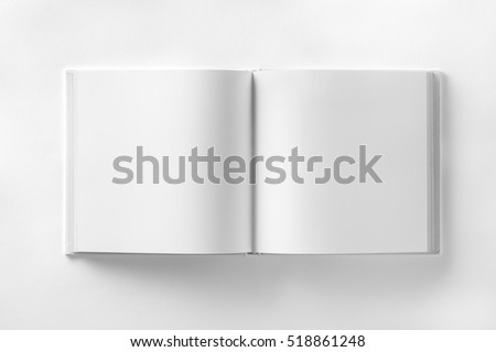 Mockup of opened blank square ctalogue at white design paper background. Royalty-Free Stock Photo #518861248
