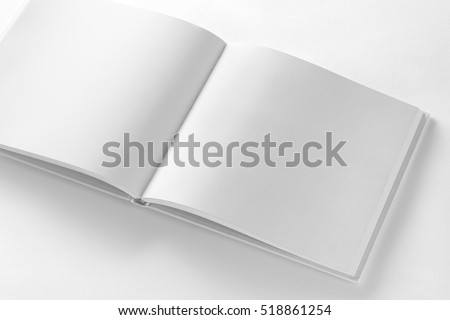 Mockup of opened blank square book at white design paper background.