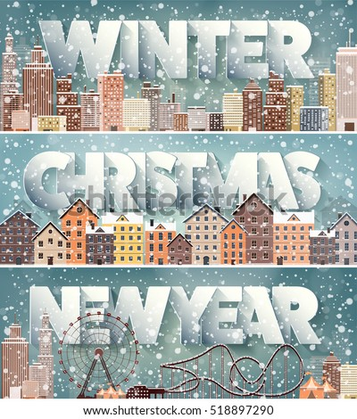 Winter cityscape.City silhouettes.Town skyline. Panorama. Midtown houses.New year,christmas.Holidays in December,January,February. #518897290