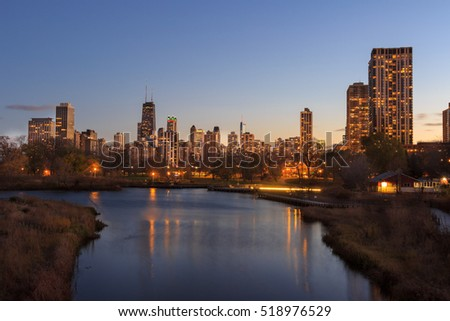 downtown of Chicago, night view #518976529