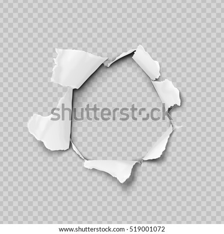Torn paper realistic, hole in the sheet of paper on a transparent background. No gradient mesh. Vector illustrations. Royalty-Free Stock Photo #519001072