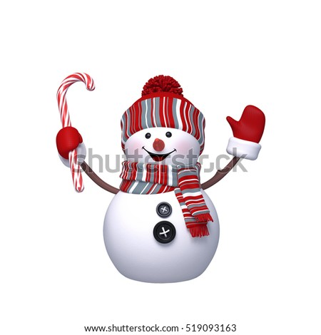 3d render, digital illustration, happy snowman holding candy cane, Christmas Holiday character, festive greeting card, clip art isolated on white background