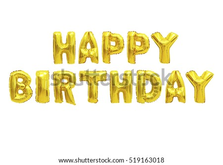 Word happy birthday in english alphabet from yellow (Golden) balloons on a white background. holidays and education.