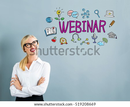 Webinar text with business woman on a gray background #519208669