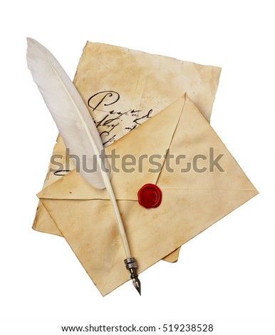 Old letter with vintage handwriting, envelope and feather pen isolated on white background #519238528