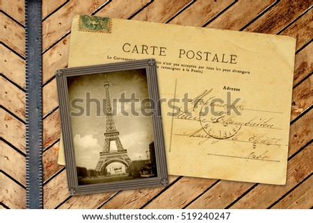 Vintage photo and post card on wooden planks