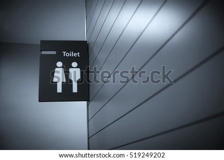 Toilet sign - Restroom Concept - blue tone
