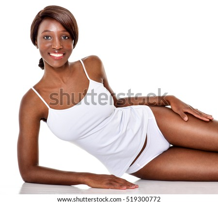 Beautiful  African-American woman. Black Beauty. Beautiful girl lying in white underwear. #519300772