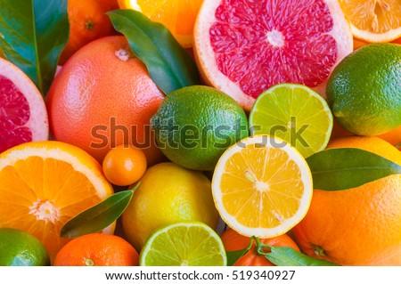 Citrus fruits (orange, lemon, grapefruit, mandarin, lime) #519340927
