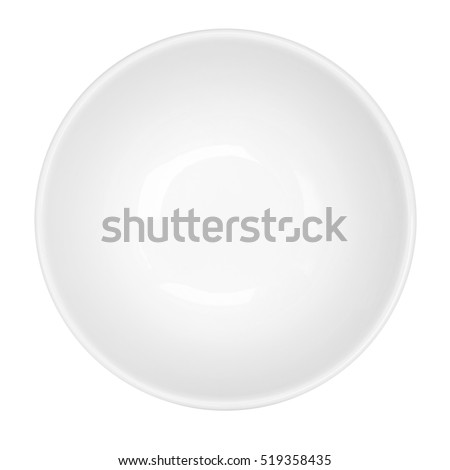 Empty white bowl isolated on white background, top view Royalty-Free Stock Photo #519358435