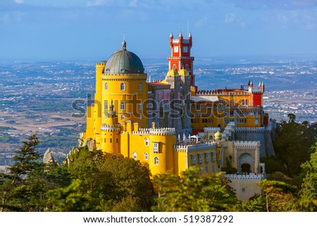 Pena Palace in Sintra - Portugal - architecture background Royalty-Free Stock Photo #519387292