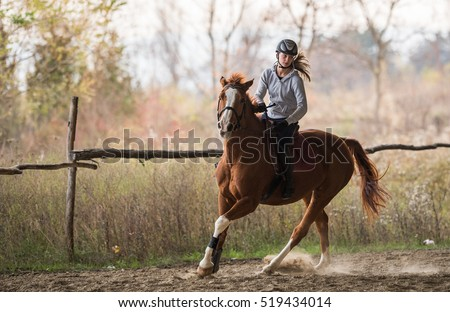Young pretty girl riding a horse Royalty-Free Stock Photo #519434014