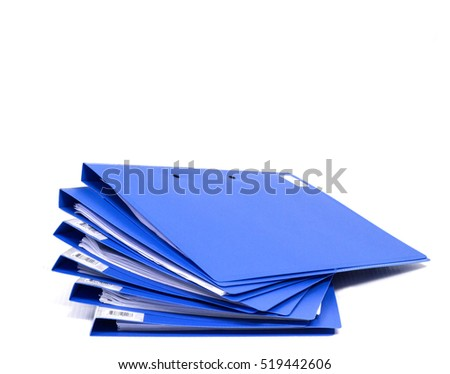 blue file folder with documents and documents. retention of contracts. isolated white  - copy space