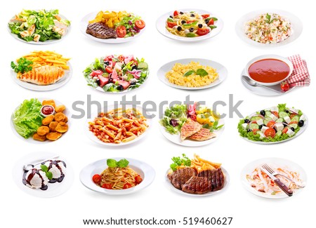 set of various plates of food isolated on white background #519460627