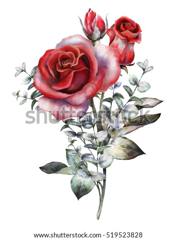 watercolor flowers. romantic floral illustration, red rose. branch of flowers isolated on white background. Leaf and buds. Bouquet, composition for wedding or greeting card. eucalyptus