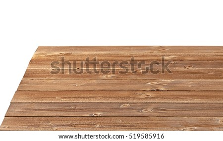 Perspective view of wooden or log table corner from top on white background included clipping path.   #519585916