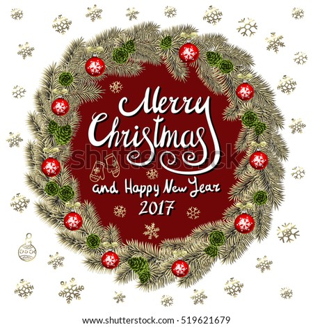 Merry Christmas And Happy New Year 2017 Vintage Background With Typography card with gold Christmas wreath. Vector illustration. art #519621679