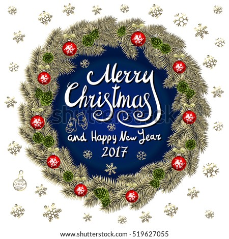 Merry Christmas And Happy New Year 2017 Vintage Background With Typography card with gold Christmas wreath. Vector illustration. art #519627055