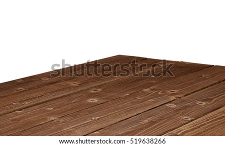 Dark weathered wooden table corner isolated on white background #519638266
