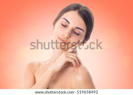 Young girl takes care her skin. #519658492