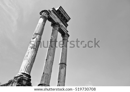 View of the columns of roman ruins in a sunny day in Rome, Italy. #519730708