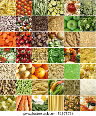 Food collage including pictures of vegetables, fruit, pasta