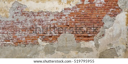 Empty Old Brick Wall Texture. Painted Distressed Wall Surface. Grungy Wide Brickwall. Grunge Red Stonewall Background. Shabby Building Facade With Damaged Plaster.  Abstract Web Banner. Copy Space. #519795955