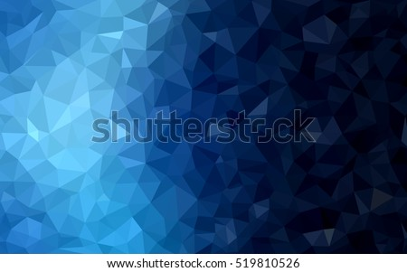 Dark blue shining triangular template. Creative illustration in halftone style with gradient. The completely new template can be used for your brand book.