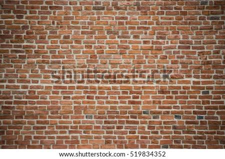 Vintage red brick wall #519834352