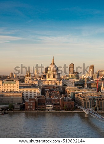 St. Paul's Cathedral and the River Thames at dusk. London, UK.