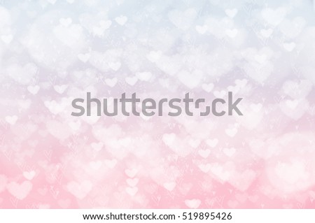 Pastel blurred heart bokeh background, Valentine's Day card texture