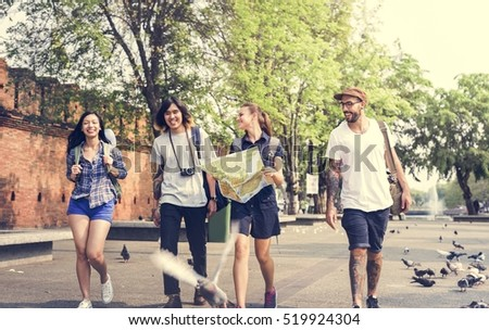 Friends Travel Backpacker Adventure Concept #519924304