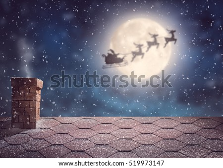 Merry Christmas and happy holidays! Santa Claus flying in his sleigh on background moon sky. Christmas story concept.