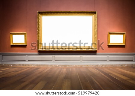 Three Ornate Picture Frames Art Gallery Museum Exhibit Blank White Isolated Clipping Path #519979420