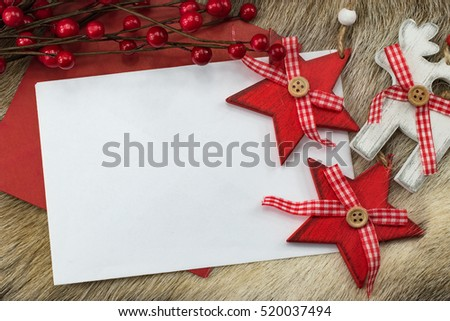 Greeting card with Christmas ornaments. #520037494