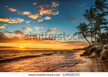Landscape of paradise tropical island beach, sunrise shot Royalty-Free Stock Photo #520068193